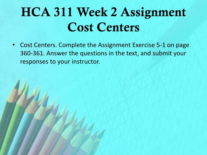 HCA 311 Week 2 Assignment Cost