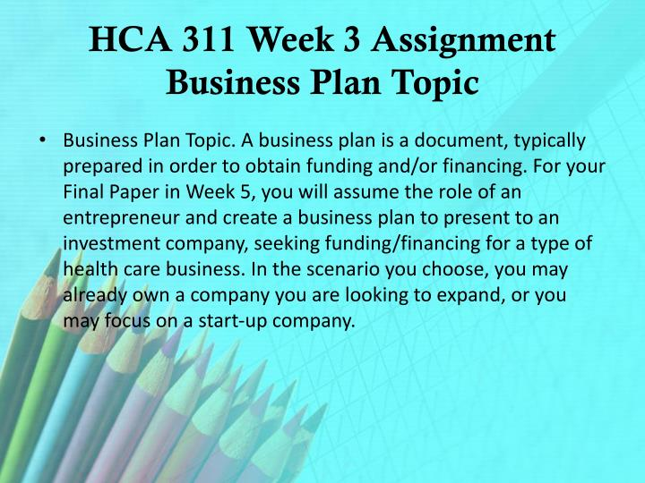 HCA 311 Week 3 Assignment Business Plan Topic