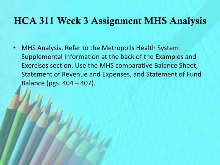 HCA 311 Week 3 Assignment MHS Analysis