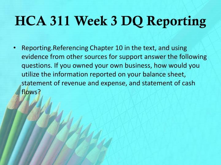 HCA 311 Week 3 DQ Reporting
