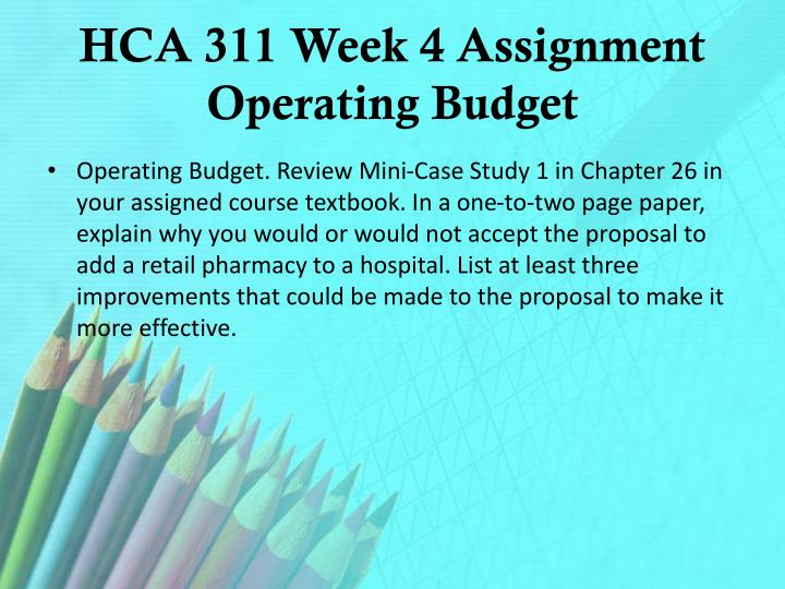 HCA 311 Week 4 Assignment Operating Budget