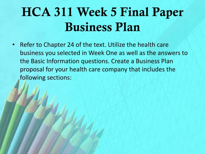 HCA 311 Week 5 Final Paper Business Plan