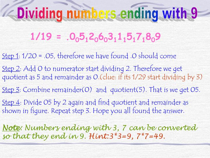 Dividing numbers ending with 9