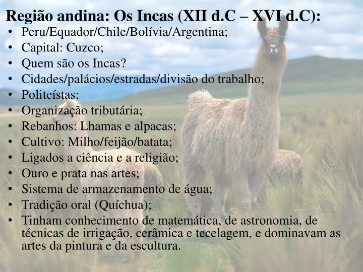 Região andina: Os Incas (XII d.C – XVI d.C):