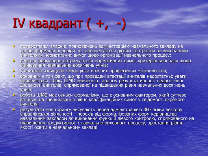 ІV квадрант ( +,  -)
