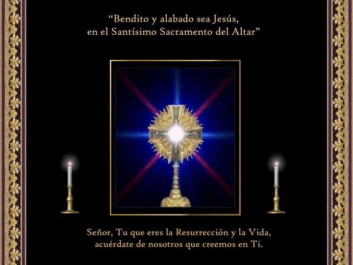 """""""Bendito y alabado sea Jesús,                                           en el Santísimo Sacramento del Altar"""""""