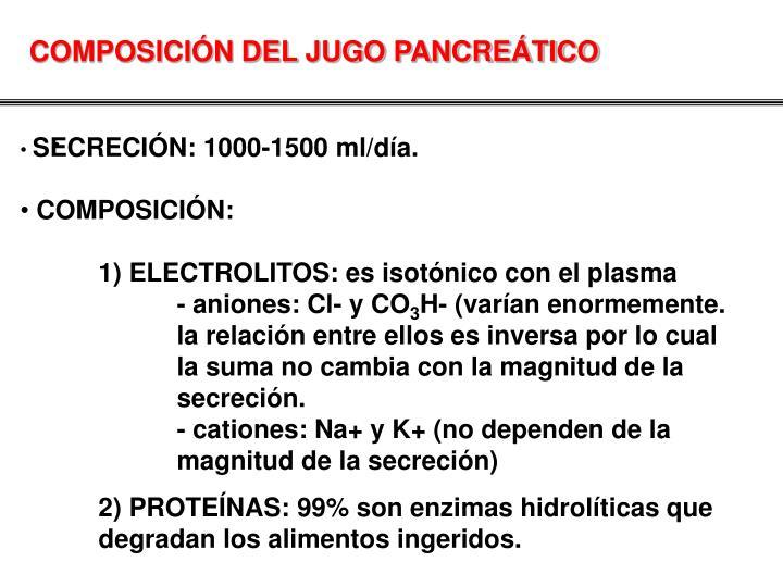 COMPOSICIÓN DEL JUGO PANCREÁTICO