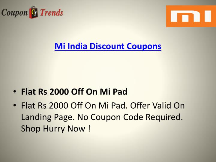 Mi india discount coupons