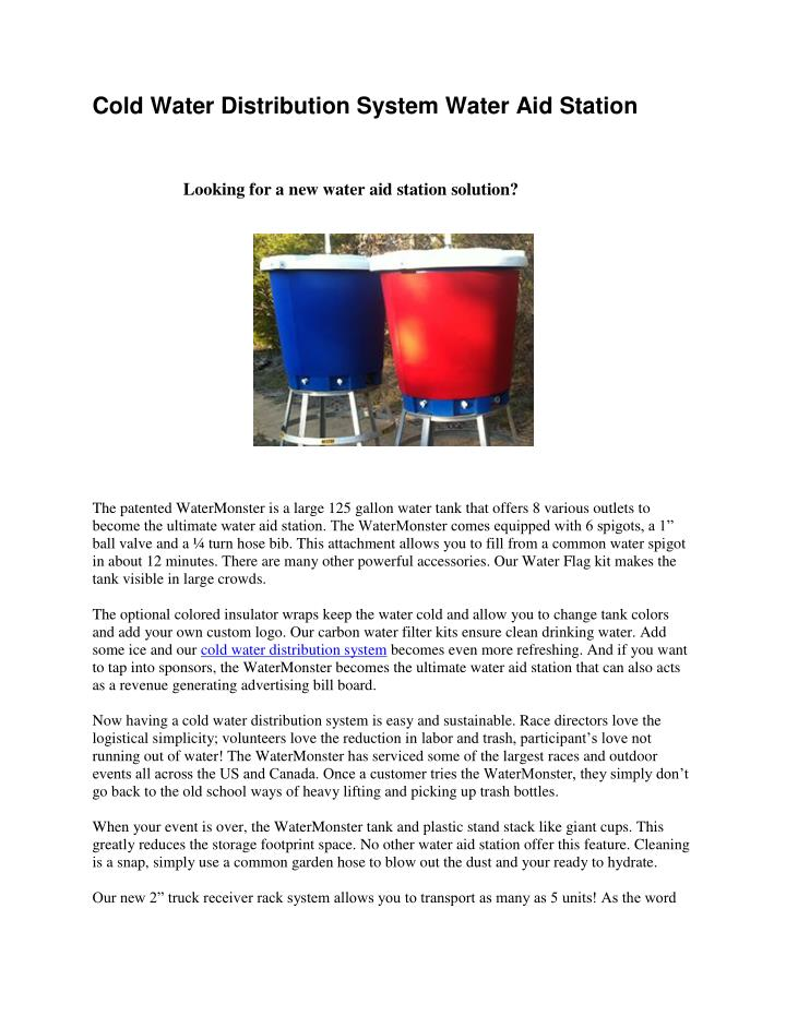 Cold Water Distribution System Water Aid Station