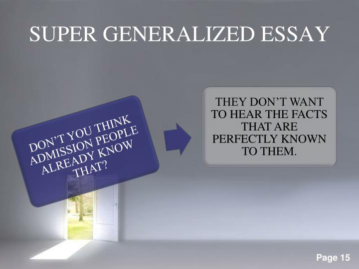 SUPER GENERALIZED ESSAY