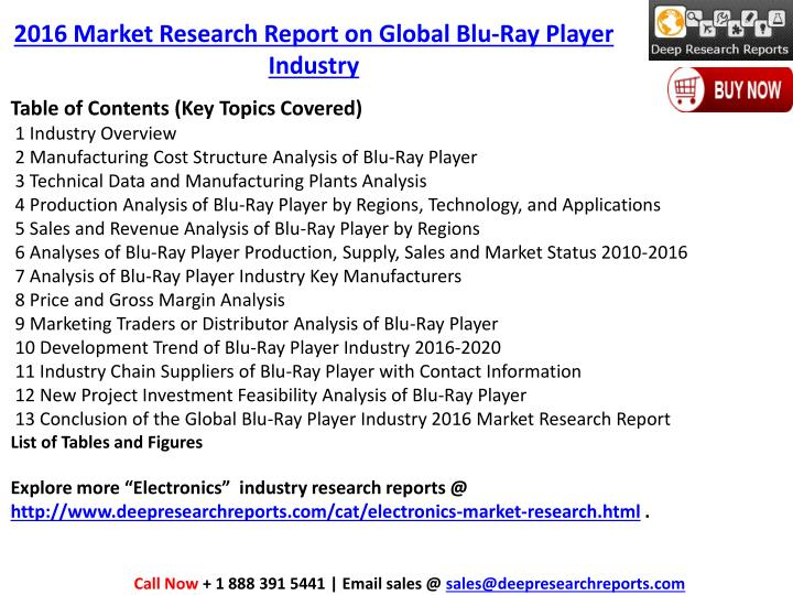 2016 Market Research Report on Global Blu-Ray Player