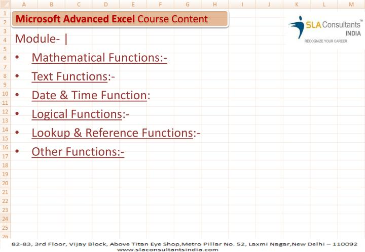 Microsoft advanced excel course content
