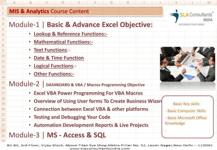 Mis analytics course content