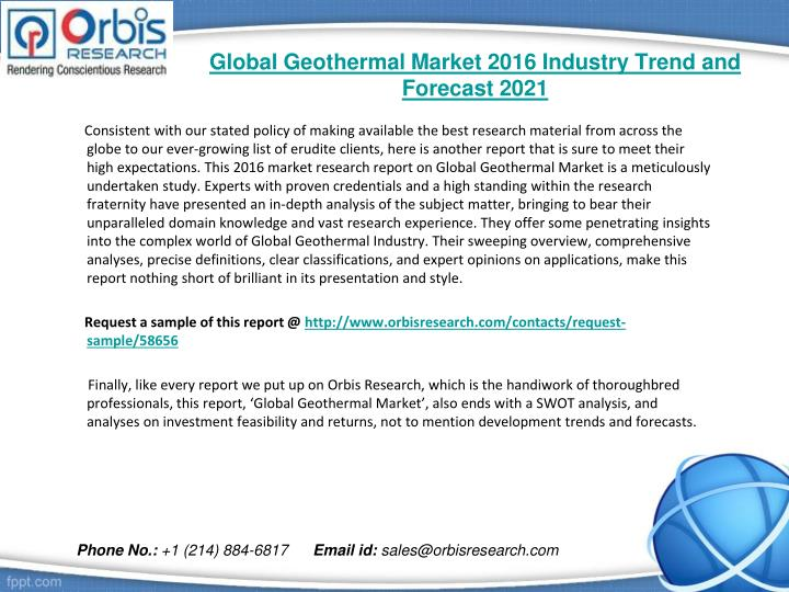 Global Geothermal Market 2016 Industry Trend and Forecast 2021