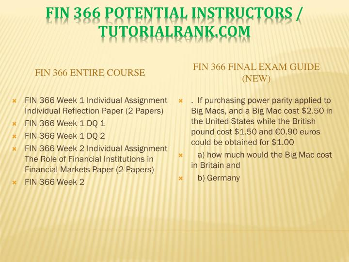 Fin 366 potential instructors tutorialrank com1