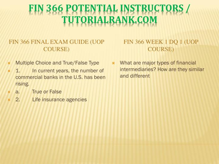 FIN 366 Final Exam Guide (UOP Course)