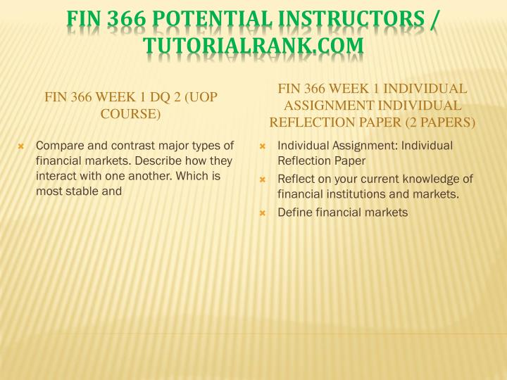 FIN 366 Week 1 DQ 2 (UOP Course)