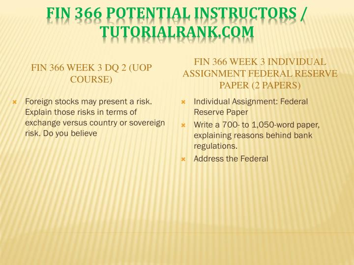 FIN 366 Week 3 DQ 2 (UOP Course)
