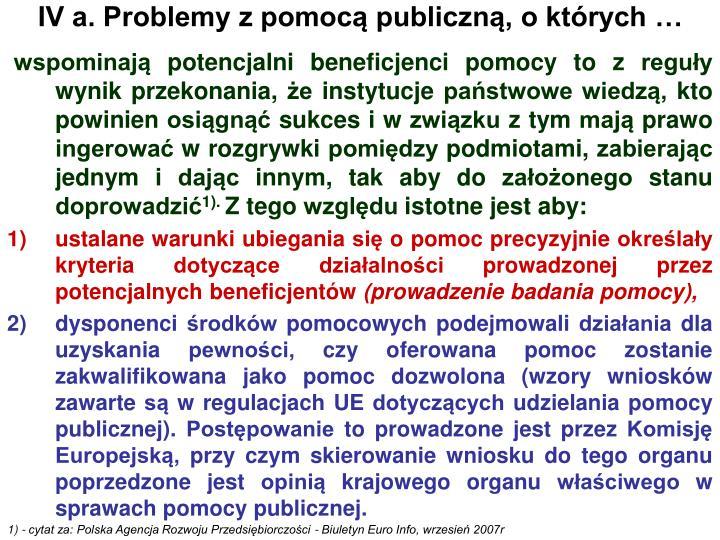 IV a. Problemy z pomocą publiczną, o których …