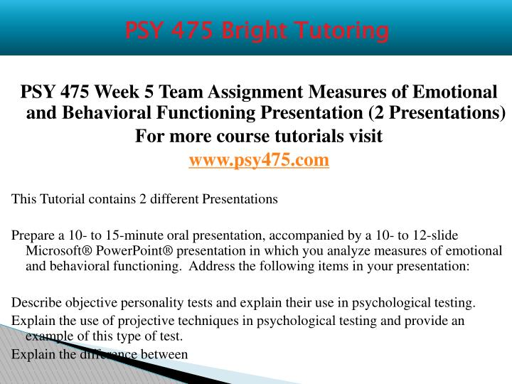 PSY 475 Bright Tutoring