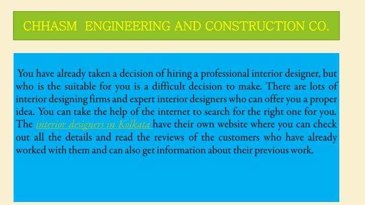 CHHASM  ENGINEERING AND CONSTRUCTION CO.