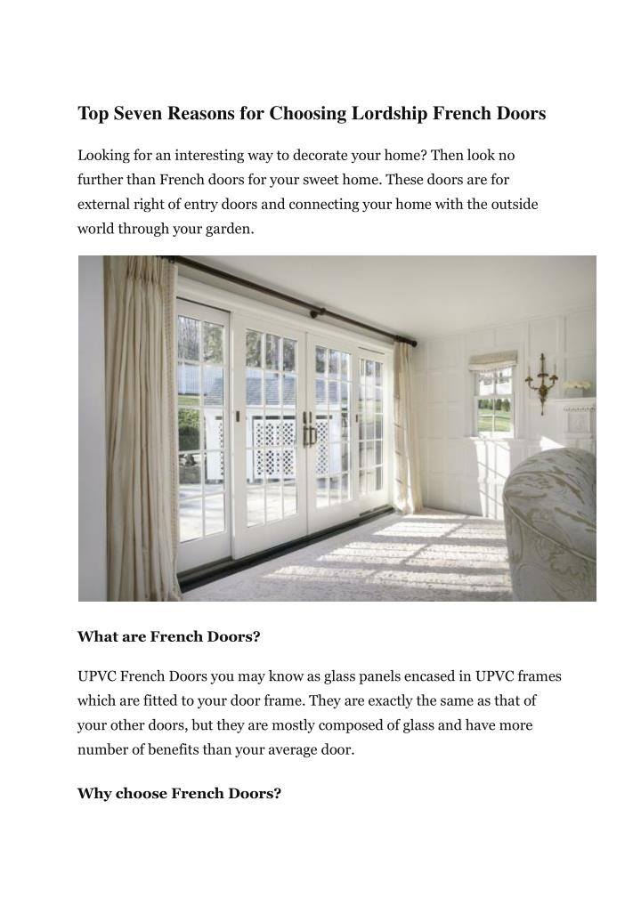 Top Seven Reasons for Choosing Lordship French Doors