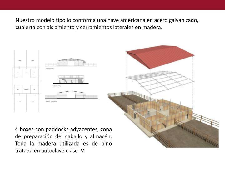 Nuestro modelo tipo lo conforma una nave americana en acero galvanizado, cubierta con aislamiento y cerramientos laterales en madera.