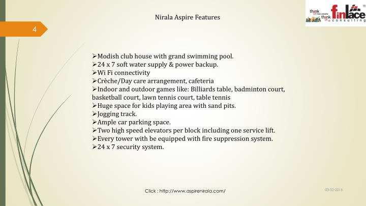Nirala Aspire Features