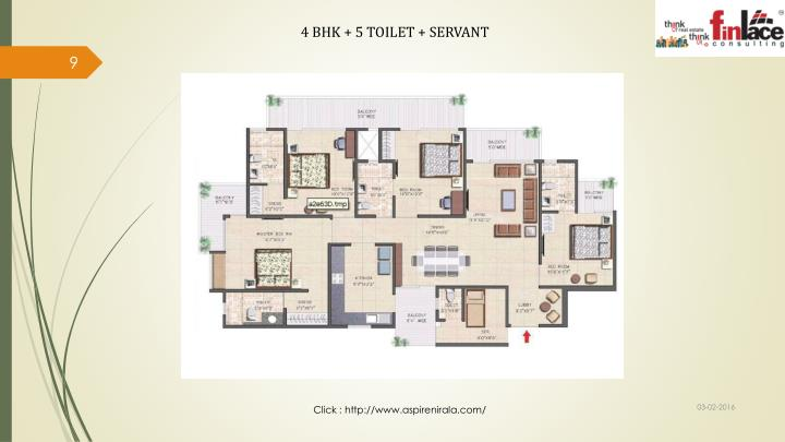 4 BHK + 5 TOILET + SERVANT