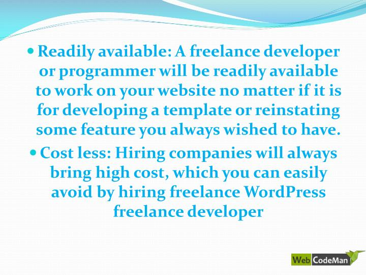 Readily available: A freelance developer or programmer will be readily available to work on your website no matter if it is for developing a template or reinstating some feature you always wished to have.