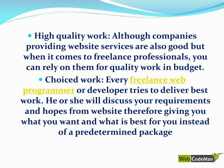 High quality work: Although companies providing website services are also good but when it comes to freelance professionals, you can rely on them for quality work in budget.