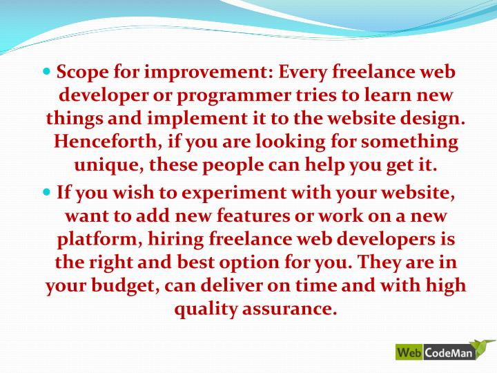 Scope for improvement: Every freelance web developer or programmer tries to learn new things and implement it to the website design. Henceforth, if you are looking for something unique, these people can help you get it.