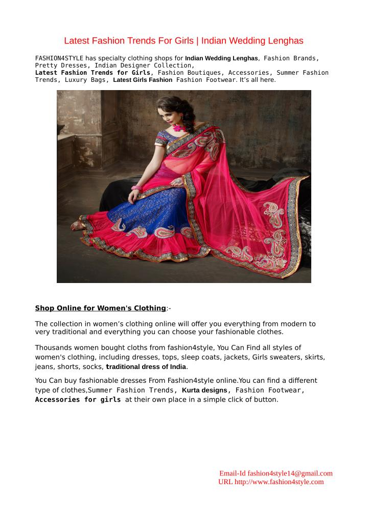 Ppt Latest Fashion Trends For Girls Indian Wedding Lenghas Powerpoint Presentation Id 7294838