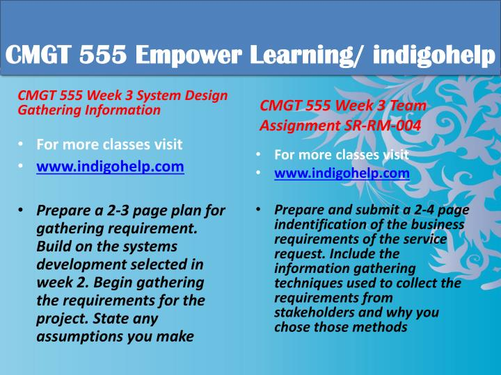 CMGT 555 Empower Learning/