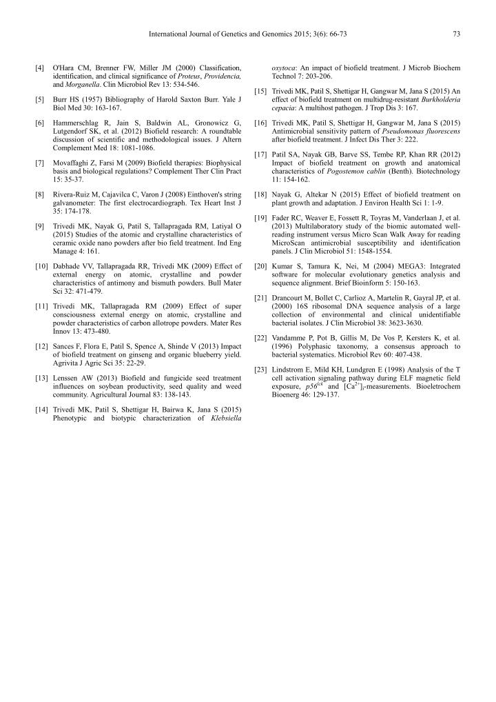 International Journal of Genetics and Genomics 2015; 3(6): 66-73