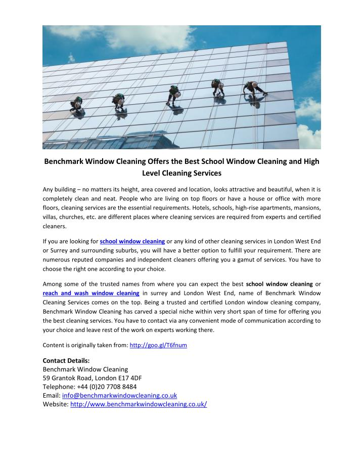 Benchmark Window Cleaning Offers the Best School Window Cleaning and High
