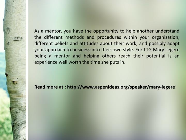 As a mentor, you have the opportunity to help another understand