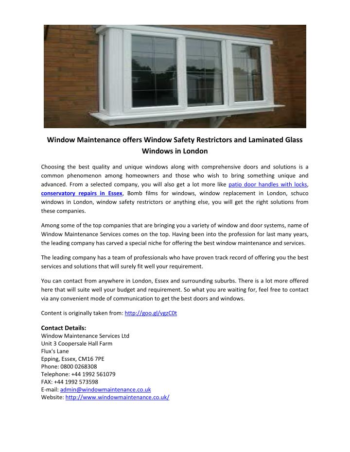 Window Maintenance offers Window Safety Restrictors and Laminated Glass