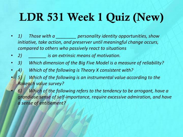 LDR 531 Week 1 Quiz (New)