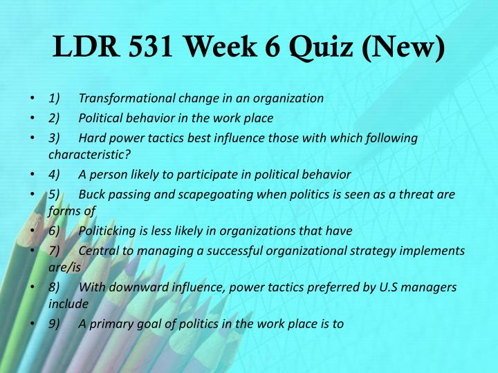LDR 531 Week 6 Quiz (New)