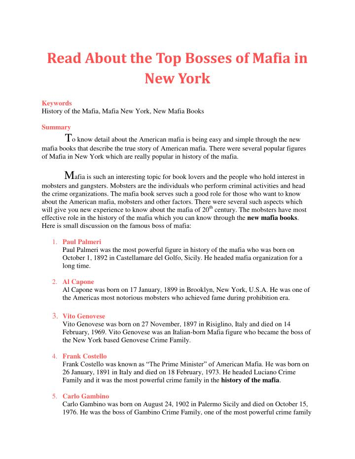Read About the Top Bosses of Mafia in