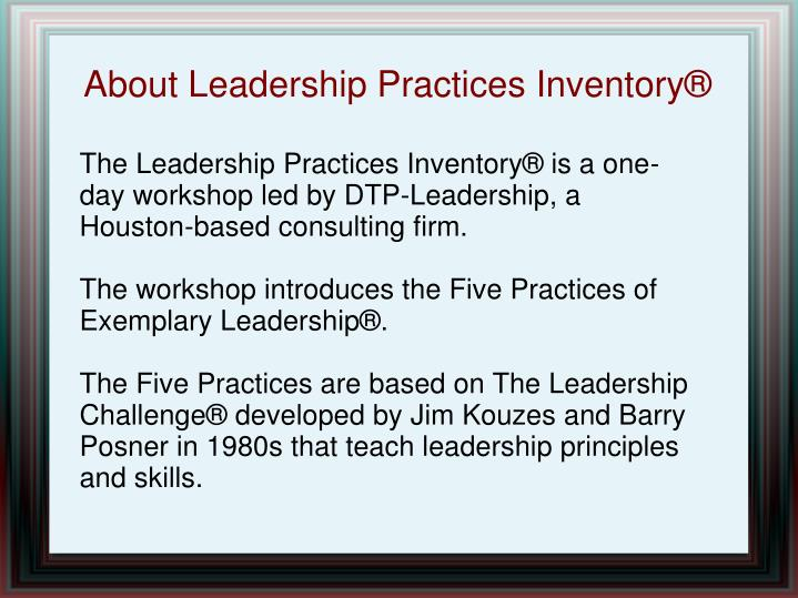 About leadership practices inventory