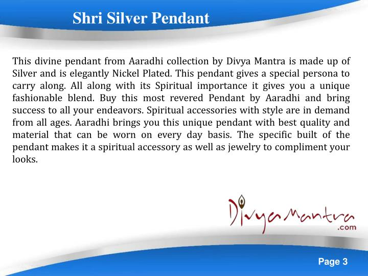 Shri Silver Pendant