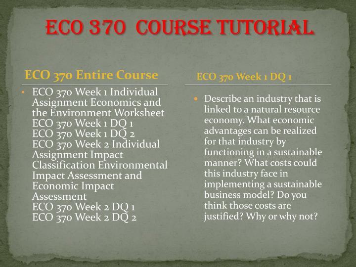 ECO 370  Course Tutorial