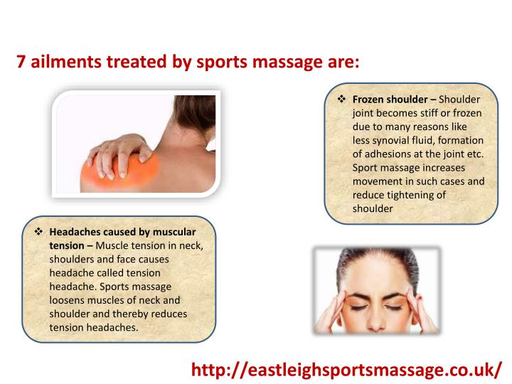 7 ailments treated by sports massage are: