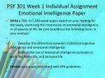 psy 301 week 1 individual assignment emotional intelligence paper