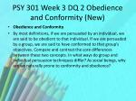 psy 301 week 3 dq 2 obedience and conformity new