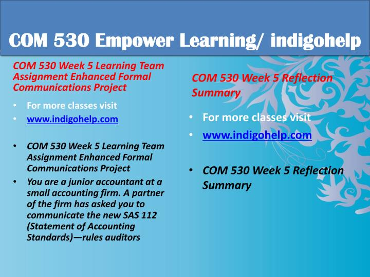 COM 530 Empower Learning/