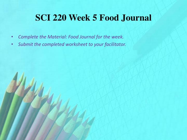 SCI 220 Week 5 Food Journal