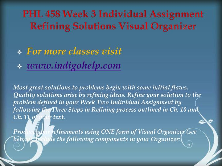 PHL 458 Week 3 Individual Assignment Refining Solutions Visual Organizer